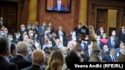 Skupština Srbije tokom polaganja zakletve aktuelnog sastava Vlade na čelu sa premijerkom Anom Brnabić, 20. oktobra 2020.