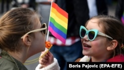 Montenegrin children take part in an LGBT pride march in Podgorica in November 2018.