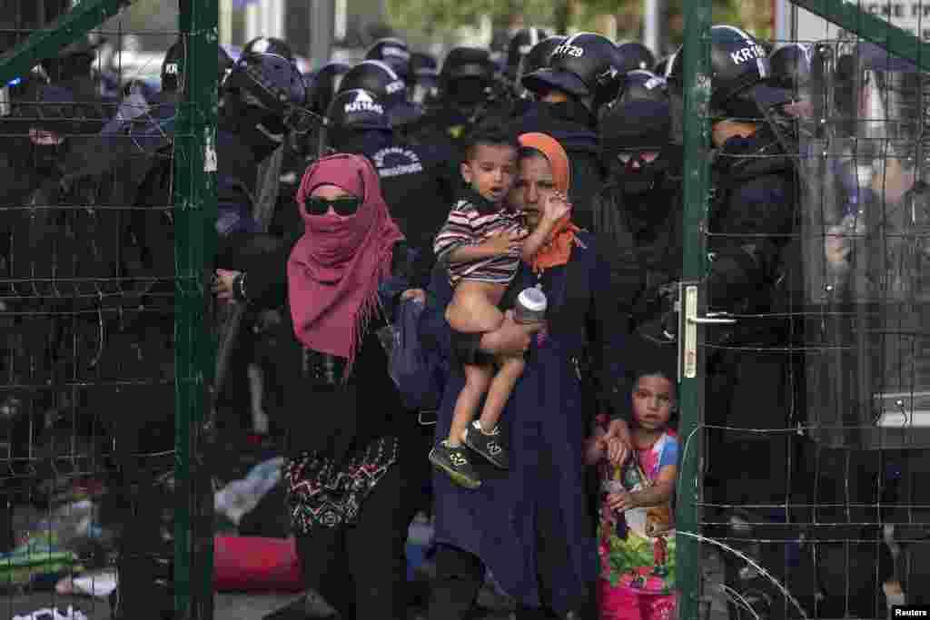 Венгерская полиция выдавливает толпу мигрантов на сербскую территорию. 16 сентября 2015 года.