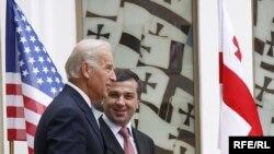 U.S. Vice President Joe Biden (left) with Georgian parliamentary speaker Davit Bakradze in Tbilisi on July 23