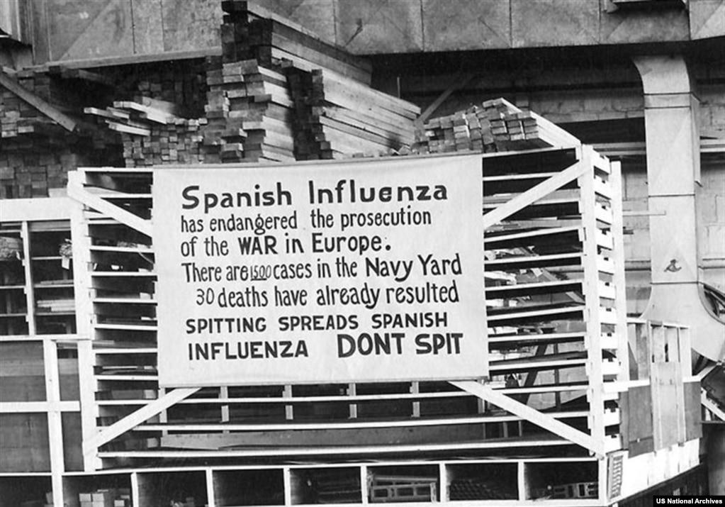 """""""Не плевать"""" – знак в порту американского флота в 1918 году.  Вирус получил название """"испанский грипп"""" абсолютно незаслуженно. Просто большинство европейских стран участвовали в войне, и вся информация с фронта подвергалась жесткой цензуре. Испания же оставалась нейтральной, пресса беспрепятственно сообщала о том, что происходит. И первая информация о смертоносной болезни появилась именно там."""