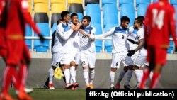 Футболисты сборной Кыргызстана на матче против Мьянмы. Инхчон, Корея. 22 марта 2018 года.