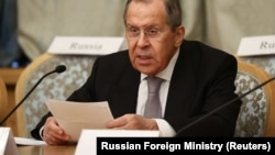 Russian Foreign Minister Sergei Lavrov speaks at the Afghan peace conference in Moscow on March 18.