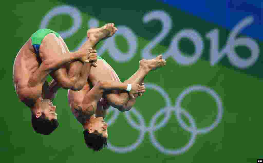 Jackson Rondinelli and Hugo Parisi of Brazil perform in the men's synchronized 10-meter platform final.