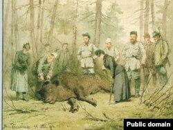 Аляксандар ІІІ на паляваньні ў Белавескай пушчы, жнівень 1884 году.