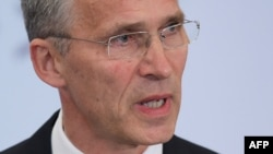 Йенс Столтенберг во время выступления в Центре стратегических и международных исследований в Вашингтоне