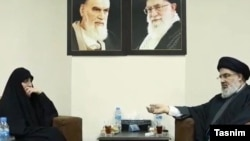 "Zeinab Soleimani in a meeting with Hassan Nasrallah. She has vowed that her father will be avenged by her ""uncle"" Nasrallah. January 27, 2020."