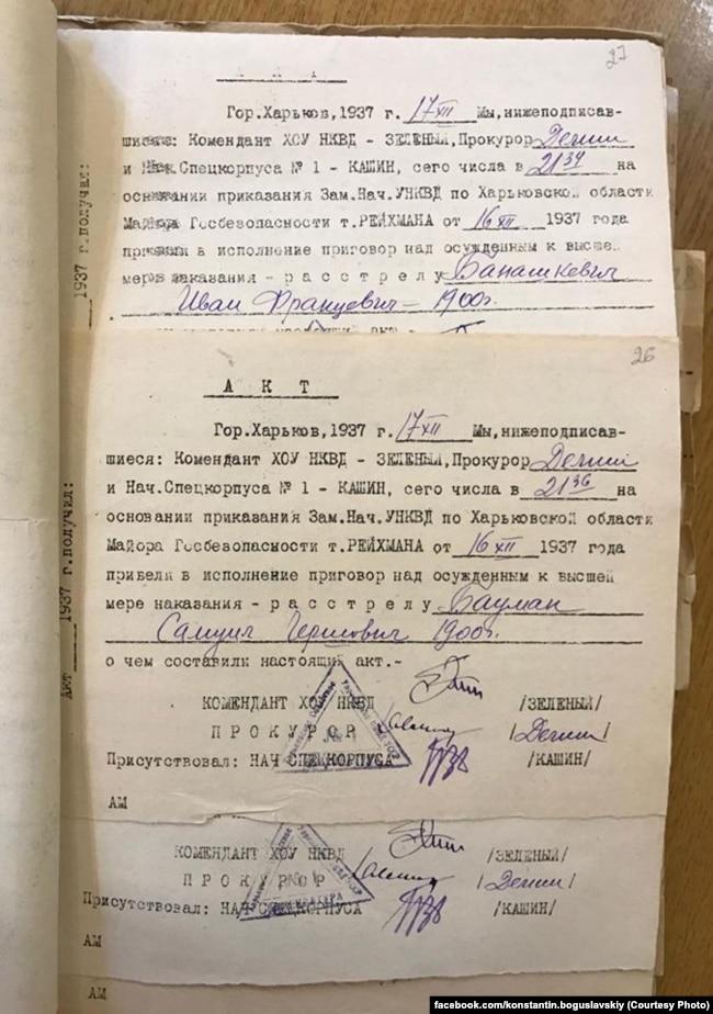 Один из томов расстрельных актов, подписанных Артемом Зелёным