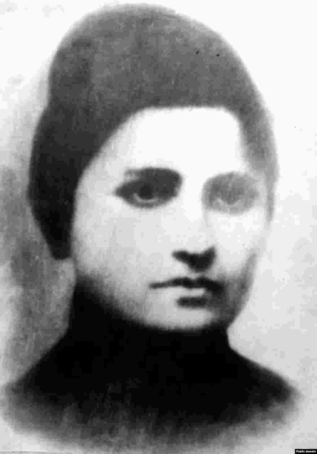"Stalin's first wife, Yekaterina ""Kato"" Svanidze (1885-1907), shown in a 1904 portrait. They were married in Tbilisi in 1906. She and Stalin had one son, Yakov Dzhugashvili, who was born in 1907. Yekaterina died of tuberculosis in 1907. Much of her family, including a sister and brother, were executed during the Great Terror. Yakov Dzhugashvili was a Soviet artillery officer during World War II. He was captured by the Germans in 1941. After Stalin refused a prisoner exchange for him, Yakov died in captivity under unknown circumstances in April 1943."
