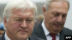Steinmeier (left) with breakaway Abkhaz leader Sergei Bagapsh before the German foreign minister departed for Moscow on July 18