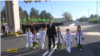 "Церемония открытия монумента собаки ""Туркменский алабай"" с участием президента Туркменистана Гурбангулы Бердымухамедова. Ашхабад, ноябрь, 2020"