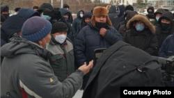 A protest in Kokshetau, Kazakhstan on January 25.