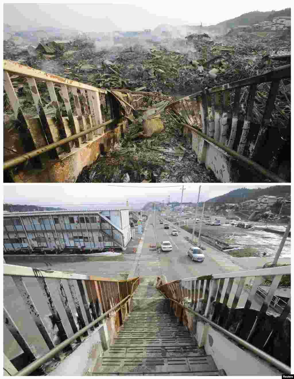 On top, tsunami-devastated Kesennuma in Miyagi Prefecture on March 13, 2011, and below on March 1, 2012