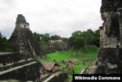 """Тикал улуттук паркындагы """"Чоң ягуар"""" храмы. Гватемала."""