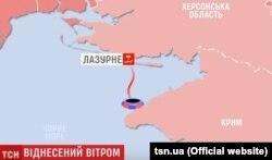 Маршрут дрейфу у відкритому морі Михайла Дорошенка на батуті (Графіка ТСН, телеканал «1+1»)