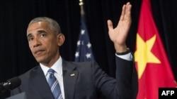 Barack Obama gjatë konferencës së sotme për gazetarë në Hangzhou të Kinës
