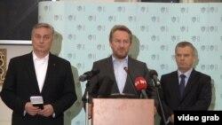 Zlatko Lagumdžija, Bakir Izetbegović i Fahrudin Radončić na konferenciji za novinare u Pragu