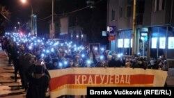 Demosntranti u šetnji centrom Kragujevca