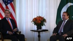 U.S. Secretary of State John Kerry meets with Pakistani Prime Minister Nawaz Sharif in Washington on October 21.