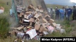 Жители села Эмгекчил Нарынского района уничтожили весь алкоголь в селе.