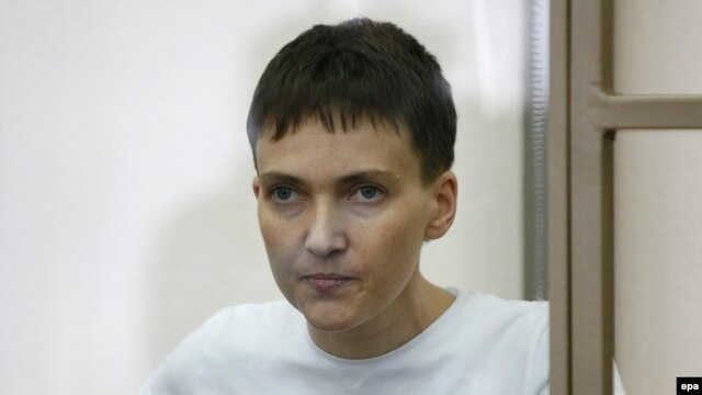 Hunger-striking Ukrainian military pilot Nadia Savchenko delivers her final statement to the court in the Russian town of Donetsk on March 9.