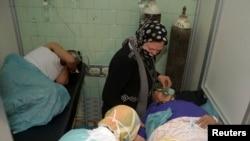 قربانیان سلاح شیمیایی در حلب در سوریه