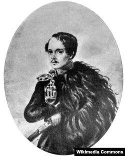 Mikhail Lermontov hərbi mundirdə. Portret Lermontovun özü tərəfindən çəkilib.