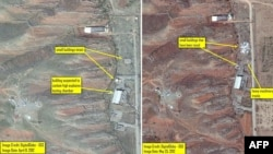 A photo released by the Washington-based Institute for Science and International Security (ISIS) suggests that two small buildings that existed at the same site as the suspected testing chamber were razed between May 25, 2012 and April 9, 2012.