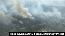 Архіўнае фота. Пажар у Чарнобыльскай зоне