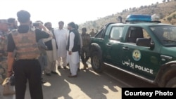 Pakistani and Afghan officials meet near the Ghulam Khan border crossing.
