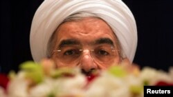Iranian President Hassan Rohani takes questions from journalists at a news conference in New York in September.