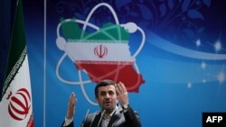 President Mahmud Ahmadinejad delivers a speech to Iran's Atomic Energy Organization scientists during a ceremony to mark National Nuclear Day in Tehran in April 2012.