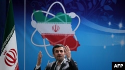 Iranian President Mahmud Ahmadinejad delivers a speech to mark National Nuclear Day in Tehran on April 8.
