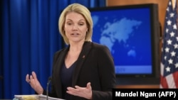 U.S. -- U.S. State Department Spokesperson Heather Nauert speaks during a briefing at the State Department in Washington, November 30, 2017
