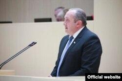 Грузия президенті Геогрий Маргвелашвили парламентте сөйлеп тұр. Тбилиси, 3 ақпан 2016 жыл.