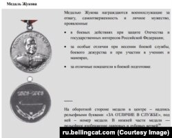 Описание Медали Жукова - иллюстрация из расследования Bellingcat