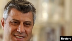 "Kosovo's Prime Minister Hashim Thaci said Kosovo's integrity was guaranteed and that ""there will be no territory swap."""