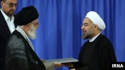 Supreme Leader Ayatollah Ali Khamenei during President Hassan Rouhani's inauguration in August 2017.