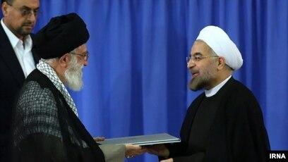 supreme leader ayatollah ali khamenei during president hassan rouhanis inauguration in august 2017