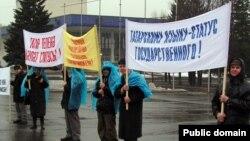 Уфада татар теленә дәүләт статусы таләп итү пикеты (архив фотосы)