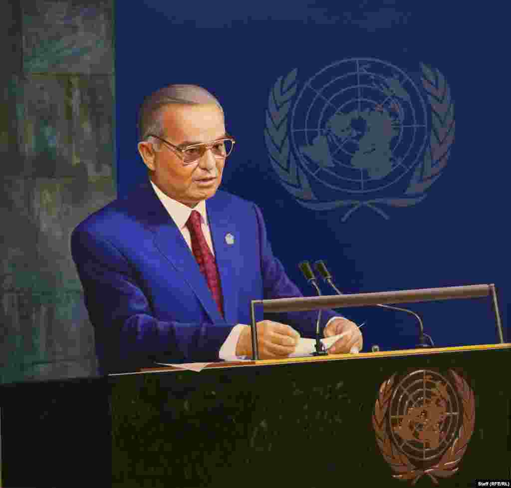 "An oil painting of Karimov addressing the United Nations. The exhibition is named ""The heart that embraced the universe."" Under Karimov's command economy, Uzbekistan initially struggled to emerge from decades of isolation and poverty, though the last decade of his reign saw steady economic growth."