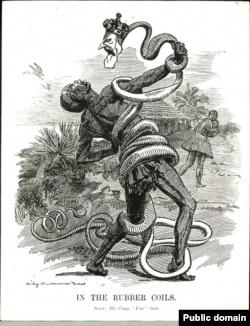 Карикатура из британского журнала Punch (1906): удав с головой Леопольда II душит африканского рабочего