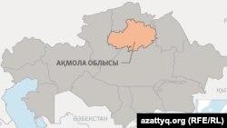 Картадағы Ақмола облысы (Көрнекі сурет).
