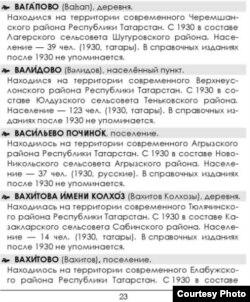 """""""Татарстанның юкка чыккан торак урыннары"""" белешмәлегенең бер бите"""
