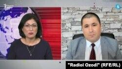 Скрин с видеобеседы Хиромон Бокизода с Шарофиддином Гадоевым