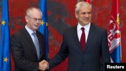 Predsednik EU Herman van Rompuj i predsednik Srbije Boris Tadić u Beogradu, juli 2010