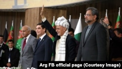 Afghanistan President Ashraf Ghani (2nd R), Pakistani Prime Minister Shahid Khaqan Abbasi (R), and Turkmenistan President Kurbanguly Berdymukhamedov (2nd L) and India's Minister of State for External Affairs M.J. Akbar (L) at pipeline inauguration ceremony.