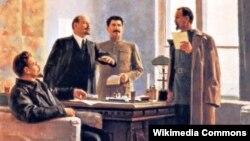 Мікалай Талкуноў, «Уручэньне Ф. Дзяржынскаму пастановы СНК аб стварэньні УЧК» (1953).
