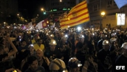 Pamje nga protesta e minatorëve të Spanjës kundër masave të kursimit të qeverisë