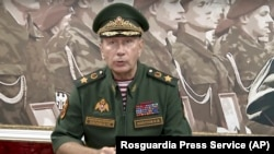 National Guard chief Viktor Zolotov delivers an emotional speech on the National Guard's YouTube channel in Moscow, September 11, 2018